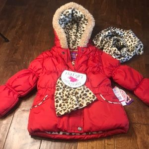 Pink Platinum red puffer coat with hat/scarf, 3T